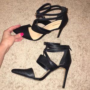 Express zipper back black heels!!